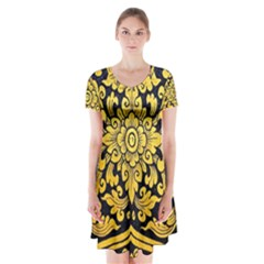 Flower Pattern In Traditional Thai Style Art Painting On Window Of The Temple Short Sleeve V-neck Flare Dress