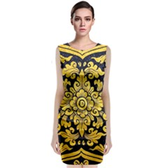 Flower Pattern In Traditional Thai Style Art Painting On Window Of The Temple Classic Sleeveless Midi Dress