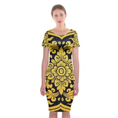 Flower Pattern In Traditional Thai Style Art Painting On Window Of The Temple Classic Short Sleeve Midi Dress
