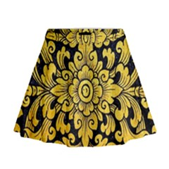 Flower Pattern In Traditional Thai Style Art Painting On Window Of The Temple Mini Flare Skirt
