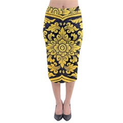Flower Pattern In Traditional Thai Style Art Painting On Window Of The Temple Midi Pencil Skirt