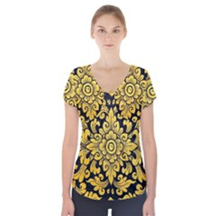 Flower Pattern In Traditional Thai Style Art Painting On Window Of The Temple Short Sleeve Front Detail Top