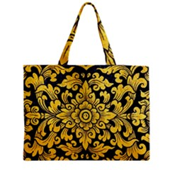 Flower Pattern In Traditional Thai Style Art Painting On Window Of The Temple Medium Zipper Tote Bag