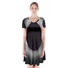 Solar Eclipse Short Sleeve V Neck Flare Dress