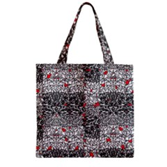 Sribble Plaid Zipper Grocery Tote Bag