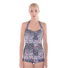 Sribble Plaid Boyleg Halter Swimsuit