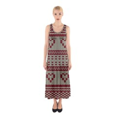 Stitched Seamless Pattern With Silhouette Of Heart Sleeveless Maxi Dress