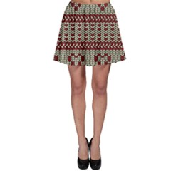 Stitched Seamless Pattern With Silhouette Of Heart Skater Skirt