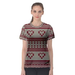 Stitched Seamless Pattern With Silhouette Of Heart Women s Sport Mesh Tee