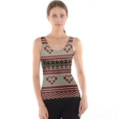 Stitched Seamless Pattern With Silhouette Of Heart Tank Top