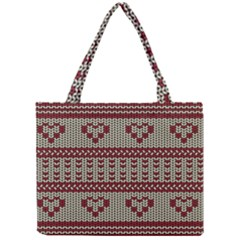 Stitched Seamless Pattern With Silhouette Of Heart Mini Tote Bag