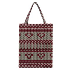 Stitched Seamless Pattern With Silhouette Of Heart Classic Tote Bag