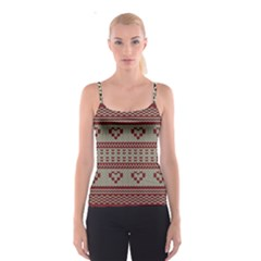 Stitched Seamless Pattern With Silhouette Of Heart Spaghetti Strap Top
