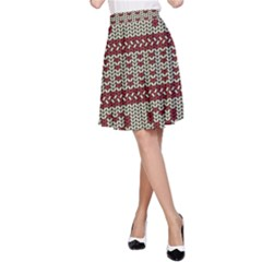 Stitched Seamless Pattern With Silhouette Of Heart A Line Skirt