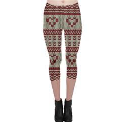 Stitched Seamless Pattern With Silhouette Of Heart Capri Leggings