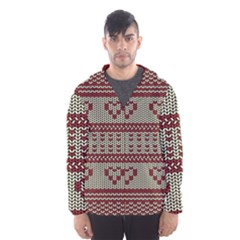 Stitched Seamless Pattern With Silhouette Of Heart Hooded Wind Breaker (Men)