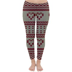 Stitched Seamless Pattern With Silhouette Of Heart Classic Winter Leggings