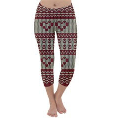 Stitched Seamless Pattern With Silhouette Of Heart Capri Winter Leggings