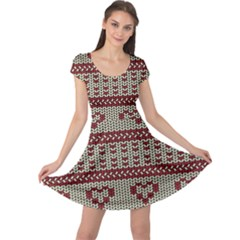 Stitched Seamless Pattern With Silhouette Of Heart Cap Sleeve Dresses