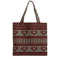 Stitched Seamless Pattern With Silhouette Of Heart Zipper Grocery Tote Bag