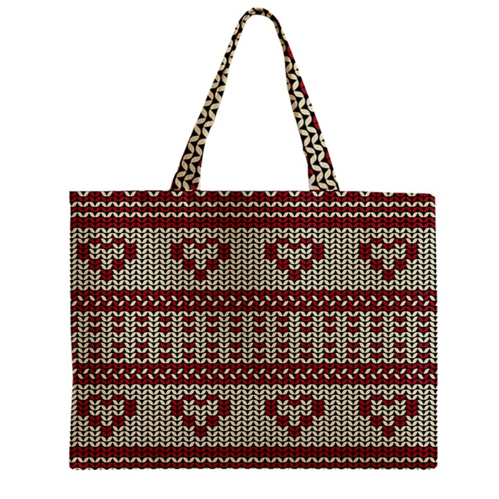 Stitched Seamless Pattern With Silhouette Of Heart Zipper Mini Tote Bag