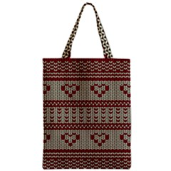 Stitched Seamless Pattern With Silhouette Of Heart Zipper Classic Tote Bag