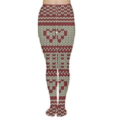 Stitched Seamless Pattern With Silhouette Of Heart Women s Tights