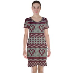 Stitched Seamless Pattern With Silhouette Of Heart Short Sleeve Nightdress