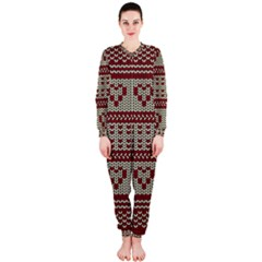 Stitched Seamless Pattern With Silhouette Of Heart OnePiece Jumpsuit (Ladies)
