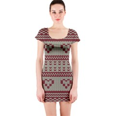 Stitched Seamless Pattern With Silhouette Of Heart Short Sleeve Bodycon Dress