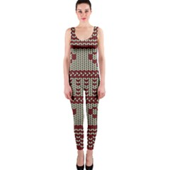 Stitched Seamless Pattern With Silhouette Of Heart Onepiece Catsuit