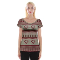 Stitched Seamless Pattern With Silhouette Of Heart Women s Cap Sleeve Top
