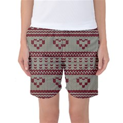 Stitched Seamless Pattern With Silhouette Of Heart Women s Basketball Shorts