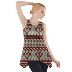 Stitched Seamless Pattern With Silhouette Of Heart Side Drop Tank Tunic