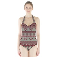 Stitched Seamless Pattern With Silhouette Of Heart Halter Swimsuit