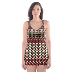 Stitched Seamless Pattern With Silhouette Of Heart Skater Dress Swimsuit