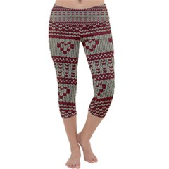 Stitched Seamless Pattern With Silhouette Of Heart Capri Yoga Leggings