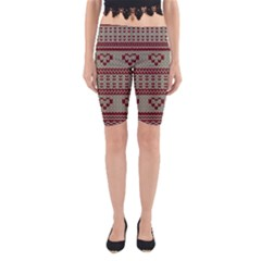 Stitched Seamless Pattern With Silhouette Of Heart Yoga Cropped Leggings