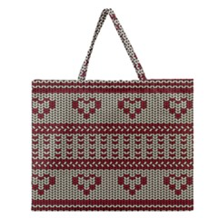 Stitched Seamless Pattern With Silhouette Of Heart Zipper Large Tote Bag