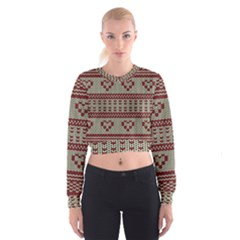Stitched Seamless Pattern With Silhouette Of Heart Women s Cropped Sweatshirt