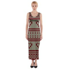 Stitched Seamless Pattern With Silhouette Of Heart Fitted Maxi Dress