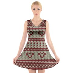 Stitched Seamless Pattern With Silhouette Of Heart V Neck Sleeveless Skater Dress