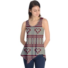 Stitched Seamless Pattern With Silhouette Of Heart Sleeveless Tunic