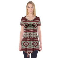 Stitched Seamless Pattern With Silhouette Of Heart Short Sleeve Tunic