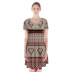 Stitched Seamless Pattern With Silhouette Of Heart Short Sleeve V Neck Flare Dress