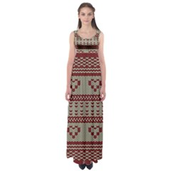 Stitched Seamless Pattern With Silhouette Of Heart Empire Waist Maxi Dress