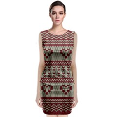 Stitched Seamless Pattern With Silhouette Of Heart Classic Sleeveless Midi Dress