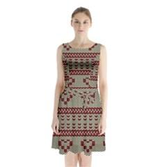 Stitched Seamless Pattern With Silhouette Of Heart Sleeveless Chiffon Waist Tie Dress