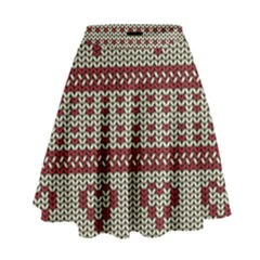 Stitched Seamless Pattern With Silhouette Of Heart High Waist Skirt