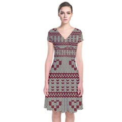 Stitched Seamless Pattern With Silhouette Of Heart Short Sleeve Front Wrap Dress